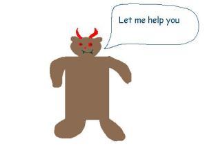 Teddy bear brick of evil