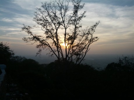 Sunset on Chamundi Hill, looking out/down over Mysore